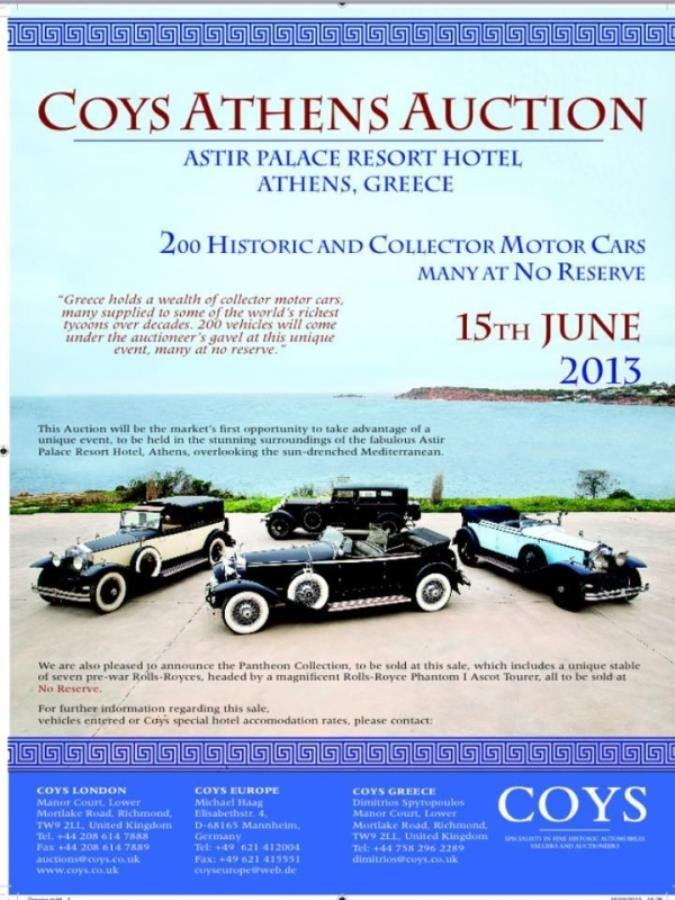 Athens Auction Coys, Astir Palace Hotel 14-15/06/2013